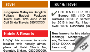 Indian Express Travel display classified rates