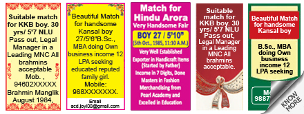 Times of India Matrimonial classified rates
