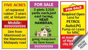 Daily Thanthi Property classified rates