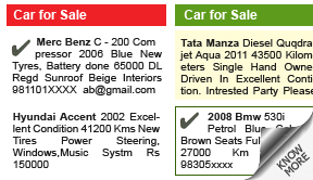 Times of India Vehicles display classified rates
