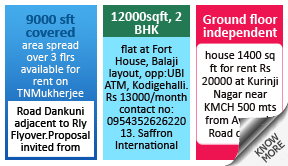 Mathrubhumi To Rent classified rates
