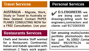 New Indian Express Services display classified rates