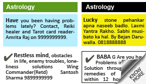 Economic Times Astrology display classified rates