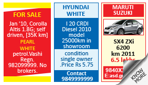 Times of India Vehicles classified rates