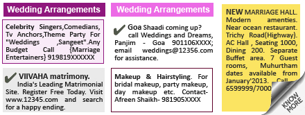 Mumbai Lakshadeep Wedding Arrangements display classified rates