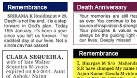 Andhra Jyothy Remembrance display classified rates