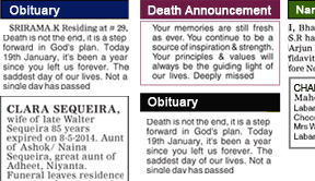 Udayavani Obituary display classified rates