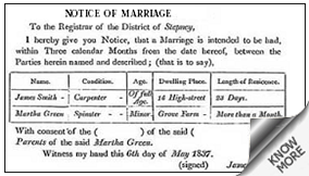 The Samaja Court or Marriage Notice classified rates