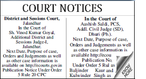 Dharitri Court or Marriage Notice display classified rates