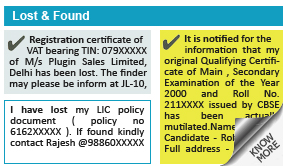 Indian Express Lost and Found display classified rates