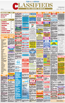 Hindu  Newspaper Classified Ad Booking